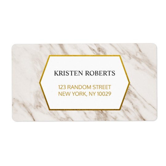 Gold Modern | Marble Wedding Address Label