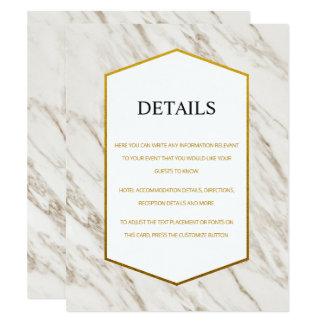 Gold Modern   Marble Wedding Details Card