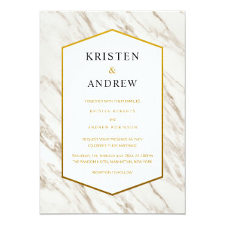Gold Modern   Marble Wedding Invitation