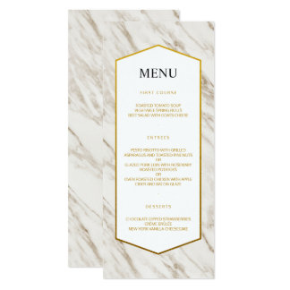 Gold Modern   Marble Wedding Menu Card