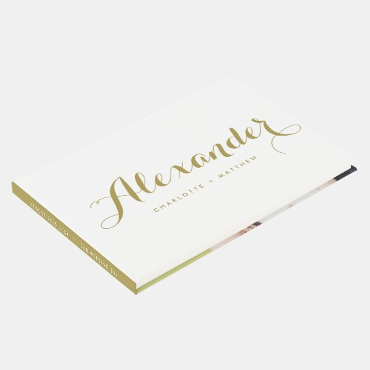 Gold Modern Script Wedding Photo Guestbook
