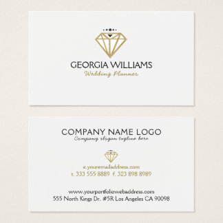 Gold Modern Wedding Diamond Illustration Business Card
