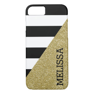 Gold Monochrome Stripes Modern iPhone 7 Case