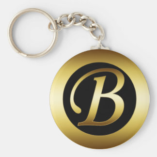 GOLD MONOGRAM B BASIC ROUND BUTTON KEY RING