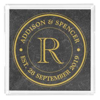 Gold Monogram Black Leather Wedding Anniversary