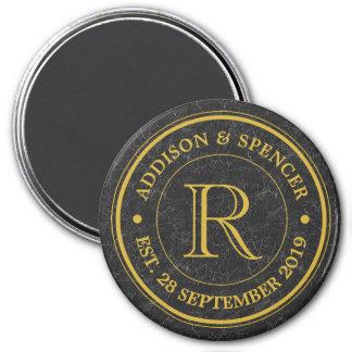 Gold Monogram Black Leather Wedding Anniversary Magnet