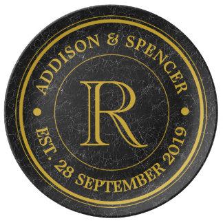 Gold Monogram Black Leather Wedding Anniversary Plate