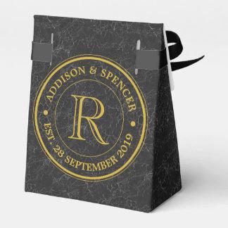 Gold Monogram Black Leather Wedding Anniversary Wedding Favour Boxes