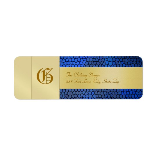 Gold  Monogram Blue Business Address Label