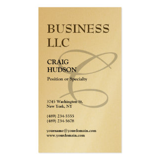 Gold Monogram Calligraphy Business Card