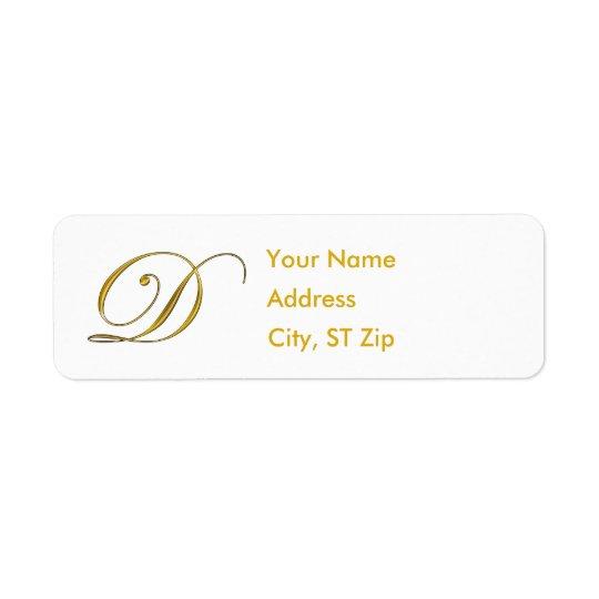 Gold Monogram D Address Labels