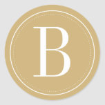 Gold Monogram Envelope Seal Round Sticker
