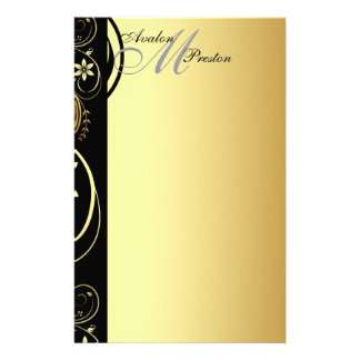 Gold Monogram Floral Scroll Wedding Stationary Personalised Stationery