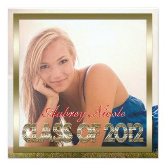 """Gold Monogram Full Page Photo Graduation Invite 5.25"""" Square Invitation Card"""