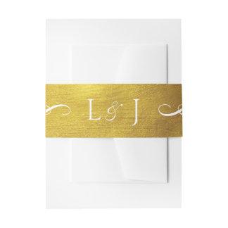 Gold Monogram Glam and Elegant Wedding Belly Band Invitation Belly Band