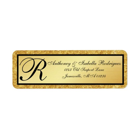 Gold Monogram Glitter Return Address Labels