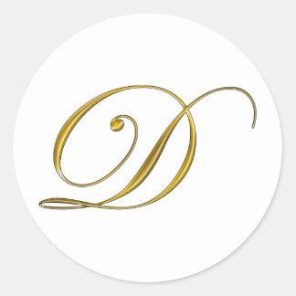 Gold Monogram Initial D Sticker