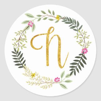 Gold Monogram Leaf N Round Sticker