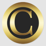 GOLD MONOGRAM LETTER C CLASSIC ROUND STICKER