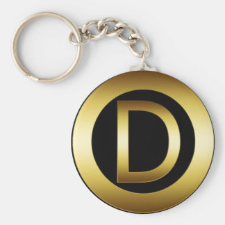 GOLD MONOGRAM LETTER D KEY RING