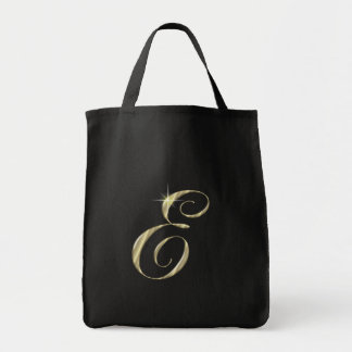Gold Monogram Letter E Initial Tote Bags