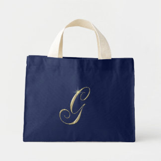 Gold Monogram Letter G Initials Tote Bag