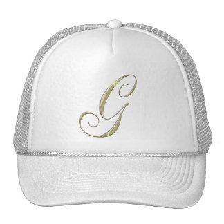 Gold Monogram Letter G Initials Mesh Hat