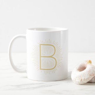 Gold Monogram Letter Shining Rays Design Coffee Mug