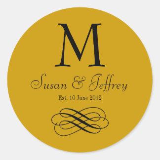 Gold Monogram Logo Names Date Wedding Label