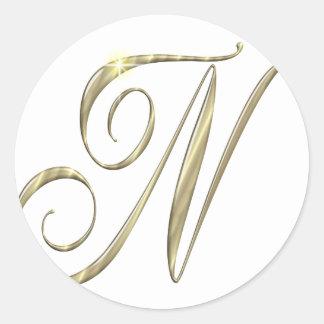Gold monogram N initials merchandise Classic Round Sticker