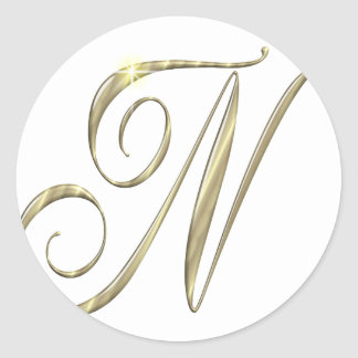 Gold monogram N initials merchandise Round Sticker