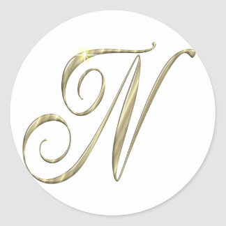 Gold monogram Ni initials merchandise Stickers