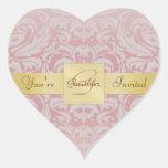 Gold Monogram Pink Damask Heart Sticker