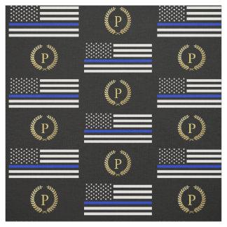Gold Monogram Police Flag Fabric