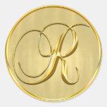 Gold Monogram R Seal Round Sticker