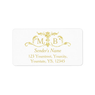 Gold monogram return address labels gold labels