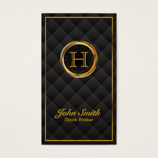 Gold Monogram Stock Broker Business Card