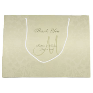 Gold Monogram Thank You Large Gift Bag