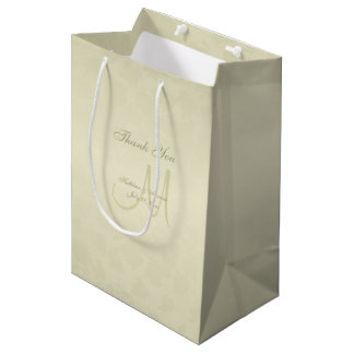 Gold Monogram Thank You Medium Gift Bag