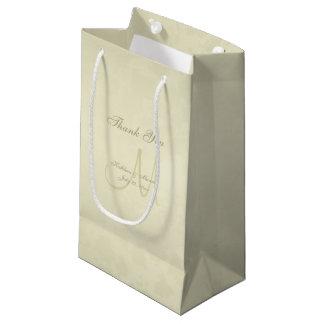 Gold Monogram Thank You Small Gift Bag