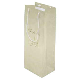 Gold Monogram Thank You Wine Gift Bag