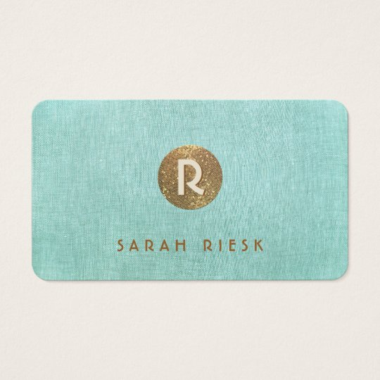 Gold Monogram Turquoise Beauty Salon and Spa Business