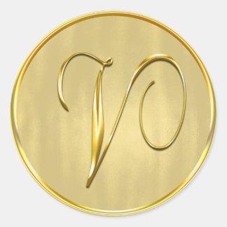 Gold Monogram V Seal Wedding Invitation Holiday Round Sticker