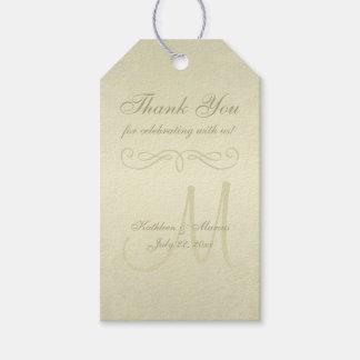 Gold Monogram Wedding Gift Tags