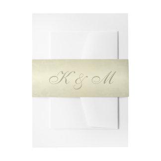 Gold Monogram Wedding Invitation Belly Band