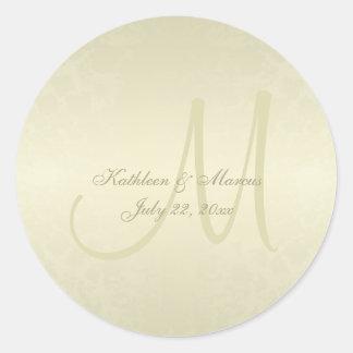 Gold Monogram Wedding Round Sticker