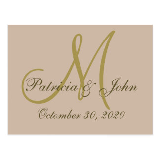 Gold Monogram Wedding Save The Date On Milk Coffee Postcard