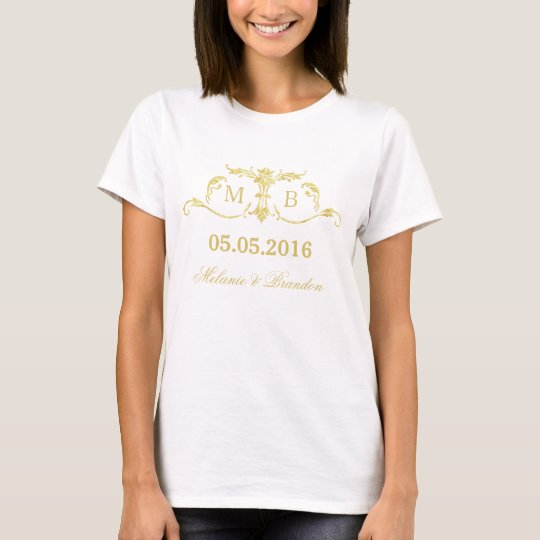 Gold monogram Wedding t-shirt personalised