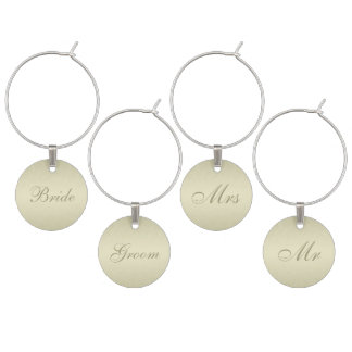Gold Monogram Wedding Wine Charm