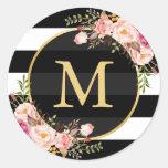 Gold Monogram with Black White Striped Floral Deco Round Sticker